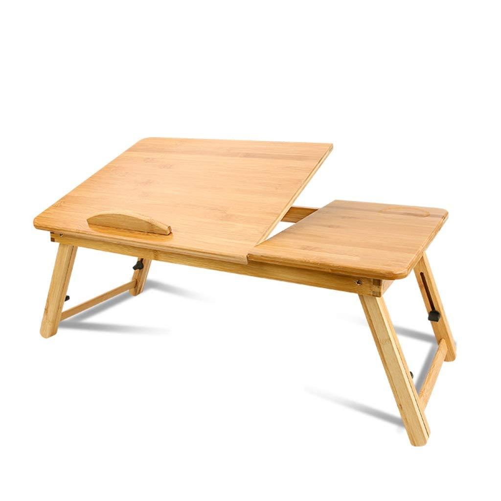 竹のラップトップデスク、調節可能な折りたたみ式テーブル、傾いた上引き出しコーヒーティーテーブル付き朝食サービングベッドトレイ (サイズ さいず : L l) L l  B07RWQ7WNK