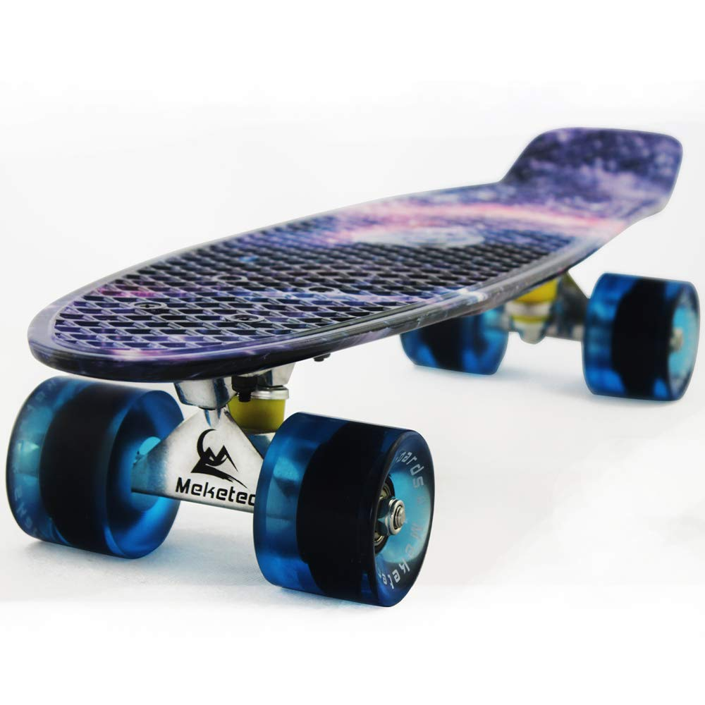 Meketec Skateboard Youth 22 inch Mini Cruiser Retro Starry Adults Skateboards for Kids Boys Girls Beginners Child Toddler Teenagers Dog Age 5 (Purple Galaxy) by Meketec