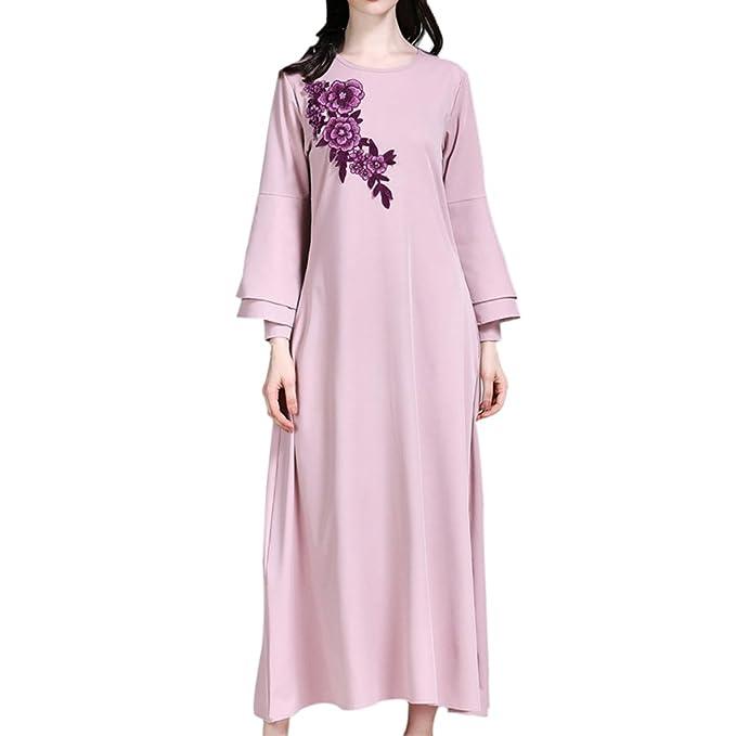 Meijunter Moyen Orient Arabe Musulman Fleur Broderie Maxi Dress