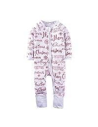 Big Elephant Baby Boys'1 Piece Merry Christmas Zipper Long Sleeve Romper M06C