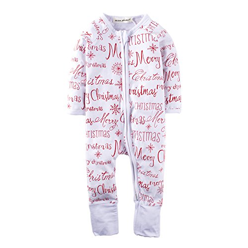Big Elephant Baby Boys'1 Piece Merry Christmas Zipper Closure Long Sleeve Romper Pajama M06