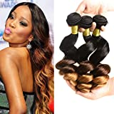Wholesale Cheap 8a Brazilian Ombre Loose Wave Bundles 3 Tone Ombre Hair Bundles Virgin Remy Human Hair Extensions T1b/4/30 (12 14 16)