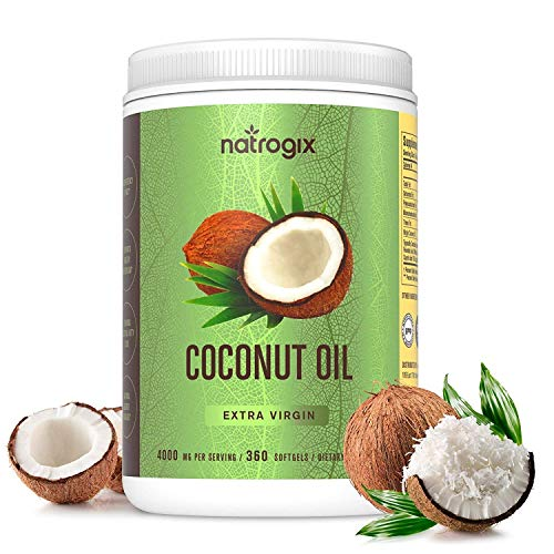 Virgin Coconut Oil Capsules 4000mg / Serving (360 Softgels) by Natrogix - Highest Potency MCT Oil Improves Hair, Skin, Heart, Digestive Health & Immune System Booster, Healthy Weight Loss (Organic Virgin Coconut Oil For Weight Loss)