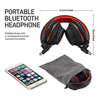 Mpow H1 Bluetooth Headphones Over Ear Lightweight, Comfortable For Prolonged Wearing, Hi-fi Stereo Wireless Headphones, Foldable Headset W Built-in Mic & Wired Mode For Pc Cell Phones Black-red 6