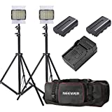 Neewer 2-Pack OE-160C Lighting Studio Light Kit Includes:(2) Dimmable LED Video Light (3200K-5600K),(2)26-75 inches Light Stand, (2)Battery, (1)Charger,(1)Bag for Studio and Product Photography