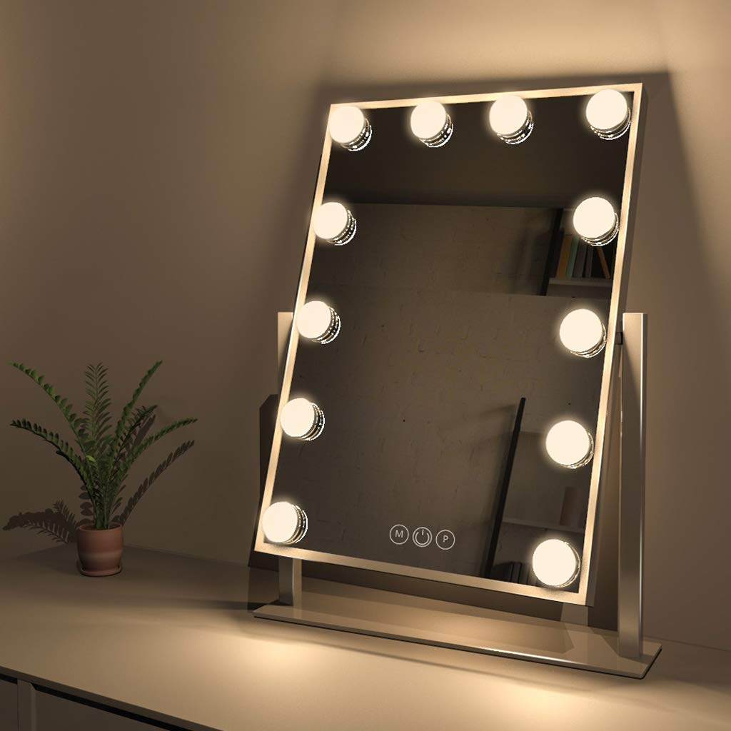Fenair Makeup Vanity Mirror with Lights, Large Lighted Vanity Makeup Mirror 47cm x30cm - Hollywood Style,3 Color Lighting Model,360° Rotation Cosmetic Mirror with 12 Detachable Dimmable Bulbs