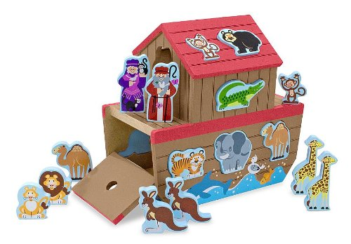 Melissa & Doug Noah's Ark Wooden Shape Sorter Educational Toy (28 pcs)