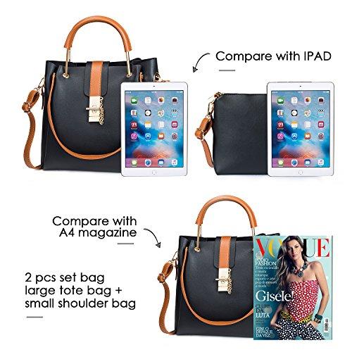 Satchel Bag Leather Fashion All Black Shoulder PU Bag Bag New handle bag Handbag Top Crossbody Design Women bag MINICE Tote matching YqUEP