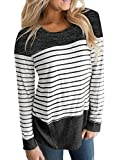 Hount Women Scoop Neck Patchwork Tops Long Sleeve T-Shirts Blouses (Black, M)