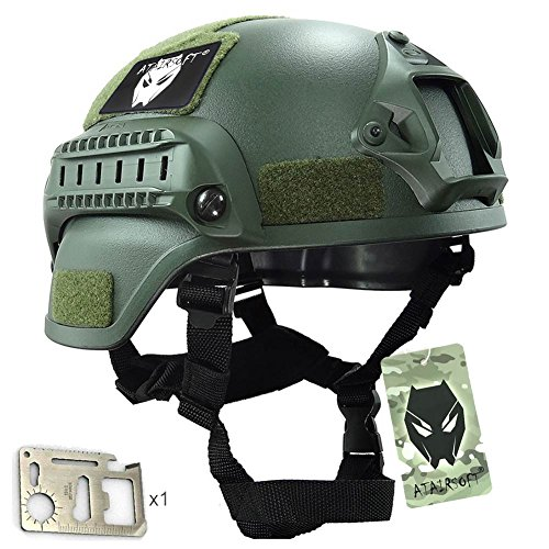 ATAIRSOFT Tactical Airsoft Paintball MICH 2000 Helmet With Side Rail & NVG Mount OD by ATAIRSOFT
