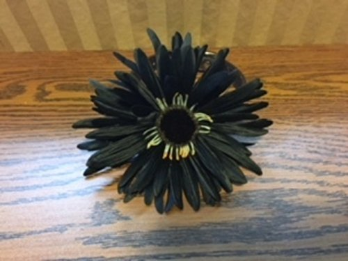Black satin flower-Dog Accessory by Creations by Glo