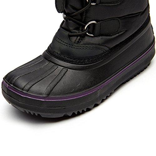 Cool&D Mädchen Schneestiefel Warm Gefütterte Stiefel Stiefeletten Mädchen Winterstiefel Winter Schuhe Schwarz