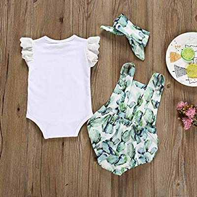 Vicbovo Clearance 3Pcs Baby Girls Sleeveless Romper + Suspenders Cactus Print Romper Outfits Summer Clothes with Headband: Clothing