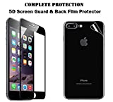 Iphone 8 Plus Tempered Glass Screen Guard Original 5D & Back Film Protector. [Anti Scratch] [HD Clear] [Curved] [Bubble-Free] [Anti Crushing] [Black Color] [Front+Back]