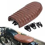 Triclicks Motorcycle Cafe Racer Seat Universal Flat Brat Vintage Saddle Seat For Honda CB Yamaha XJ - Brown