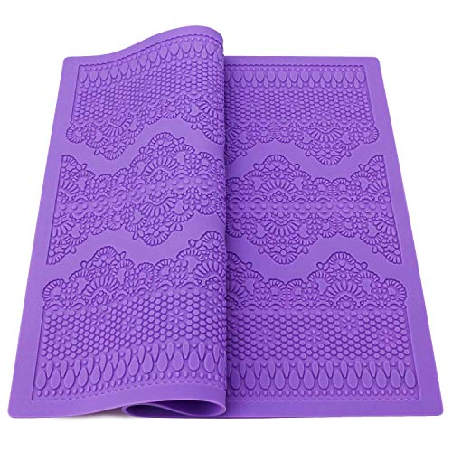 Silicone Lace Mold for Cake Decorating, Beasea Cake Sugar Lace Decoration Mat Fondant Impression Flower Pattern Molds Embossed Craft Tools Purple