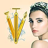 3-In-1 Beauty Bar Golden Pulse 24k Facial Massager, Anti-Wrinkle, Relaxing Facial Skin, Micro Vibrating Massager for Skincare Wrinkle Treatment
