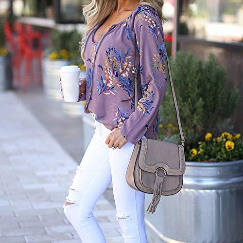 Femmes Imprimes Blouse Chemises Sweatshirt Violet Longue Femme pour Manche Longues Shirt POTTOA Loose Automne Blouse Femmes Sweat Tunique Manches Shirt Casual imprime Fleurs RXgdxwnxq