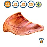 Pig Ears for Dogs | Quality Dog Chews by 123 Treats | 12 Pack | 100% Natural Pork Ears Full of Protein for Your Pet