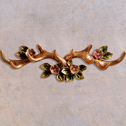 Art Life Resin Twig Wall Hooks Camellia Wall Hanger Rack Vintage Decor (Champagne)