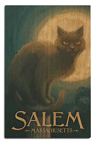 Lantern Press Salem, Massachusetts - Black Cat - Halloween Oil Painting (12x18 Wood Wall Sign, Wall Decor Ready to Hang) -