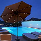 ABCCANOPY 9 FT Solar Powered Patio Umbrella 32LED Lights Solar Umbrella with Tilt and Crank,Coffee