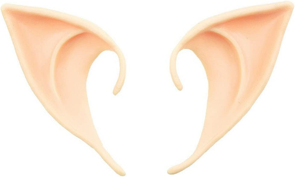 Secaden Cosplay Fairy Pixie Elf Ears Soft Pointed Ears Tips Anime Party Dress Up Costume Accessories (Medium-Style)