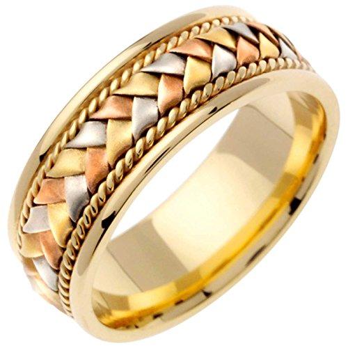 14K Tri Color Gold Braided Basket Weave Men's Comfort Fit Wedding Band (8.5mm) Size-10c1