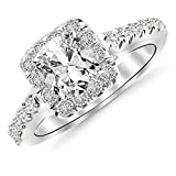 14K White Gold 1.52 CTW Square Halo Diamond Engagement Ring w/ 0.96 Ct GIA Certified Cushion Cut F Color VS2 Clarity Center