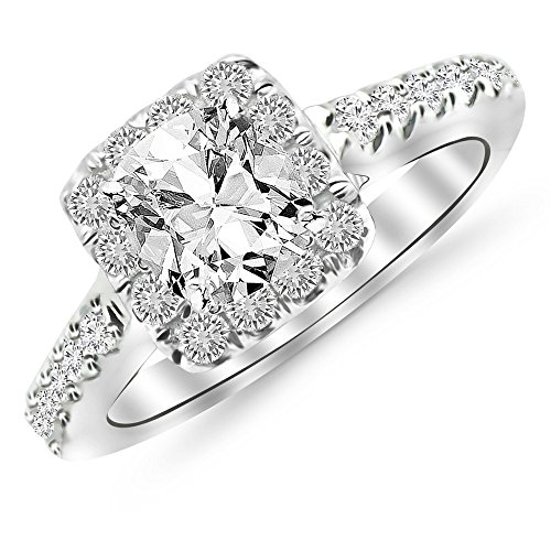 14K White Gold 152 CTW Square Halo Diamond Engagement Ring w/ 096 Ct GIA Certified Cushion Cut F Color VS2 Clarity Center