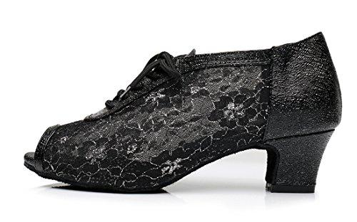 Tda Qj7018 Femmes Dentelle Maille Salsa Tango Salle De Bal Latine De Mariage Chaussures De Danse 5cm Noir