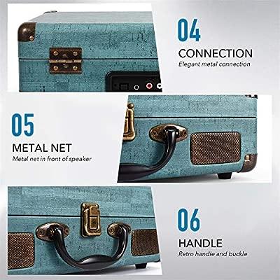 Miric - Tocadiscos de vinilo con 2 altavoces incorporados ...