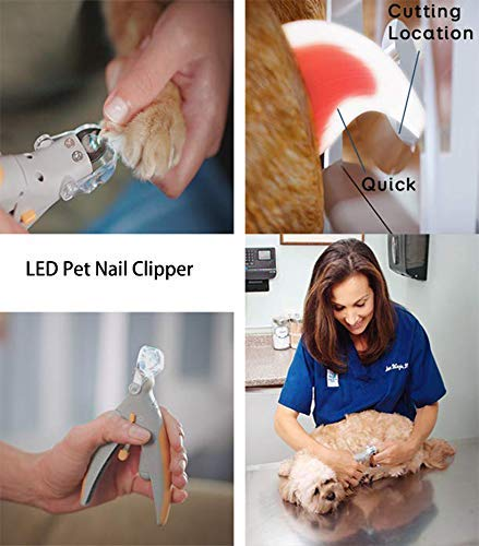 Illuminated Pet Nail Clippers Dog Cat, Mcgradyxm Pet Care Scissors Pet Nail Clipper Trimmer with Super Bright Led Light and 5x Magnification Mirror, Nail Trapper to Catch Flying Debris, Professional Safety Pet Nail Scissors Grooming Mcgrady1xm