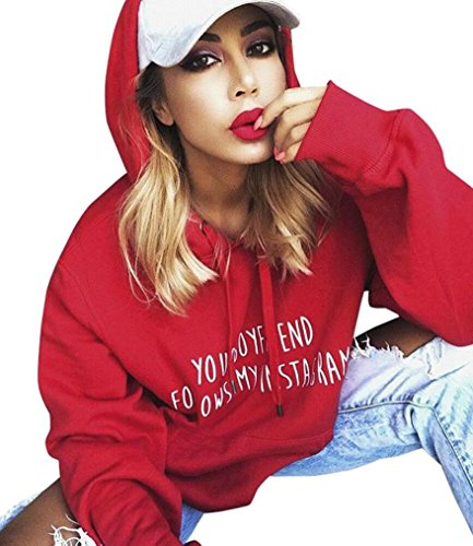 Capuche Chic Ado Ample Lettre Casual Femme Rouge Sweatshirt Sweatshirt Angelof A Femme Imprimer Blouse Fille Manteau f6aqnzwnY