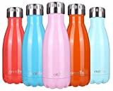 """""""anature"""" Stainless Steel Water Bottle,Double Wall Vacuum Insulation,Cola Shaped for Kids,Ladies,Business Convenience,Small Size,9oz"""