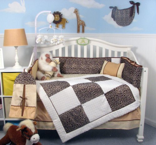 Soho White Chenille & Giraffe Minky Baby Crib Nursery Bedding Set 14 Pcs Included Diaper Bag with Changing Pad & Bottle Case