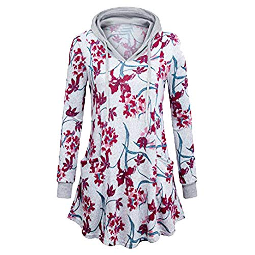 Women Blouse Floral Printed Pullover Hoodie Sweatshirt Swing Flared Tunic Pockets Tops