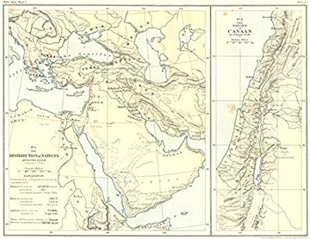 1900 Middle East Map.Middle East Nations Post Flood Of Canaan 1900 Old Antique