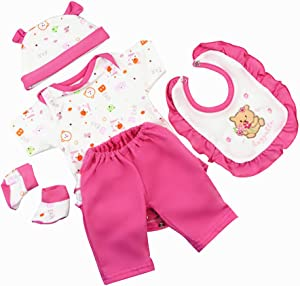 Deep Pink Reborn Baby Dolls Clothes for 16-18 Inch 5 Pieces Reborn Doll Baby Girl Clothing Set