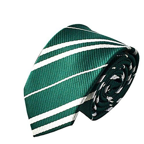 Harry Potter Cosplay Costumes (Tie Costume for Harry Potter Striped Necktie Halloween Cosplay Party Supplies Accessories for Kids and Adults (Green))