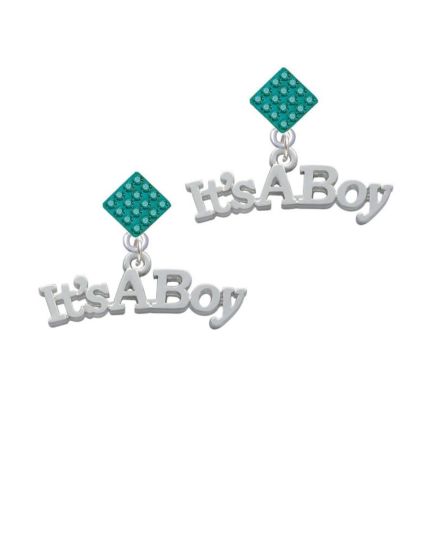 Large ''It's a Boy'' Lulu Diamond-Shaped Earrings