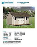 12' x 16' Storage Shed with Porch Plans for Backyard Garden - Design #P81216