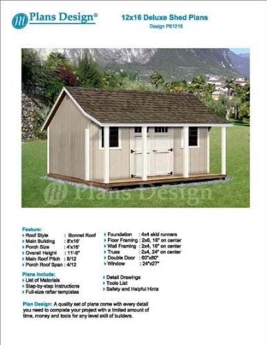 Plans design p81216 12 39 x 16 39 storage shed with porch for Sheds with porches for sale