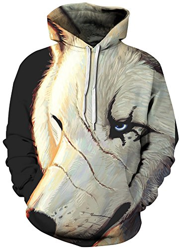 Bettydom Maniche Figura Uomo 202 Cappuccio Unisex Lunghe Stampato Con Animale 1 Felpe 3d Paesaggio ZZrBnq4w