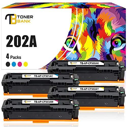 Toner Bank Compatible Toner Cartridge Replacement for HP 202A CF500A CF501A CF502A CF503A 202X M281fdw M254dw (Black, Cyan, Yellow, Magenta,4-Pack)