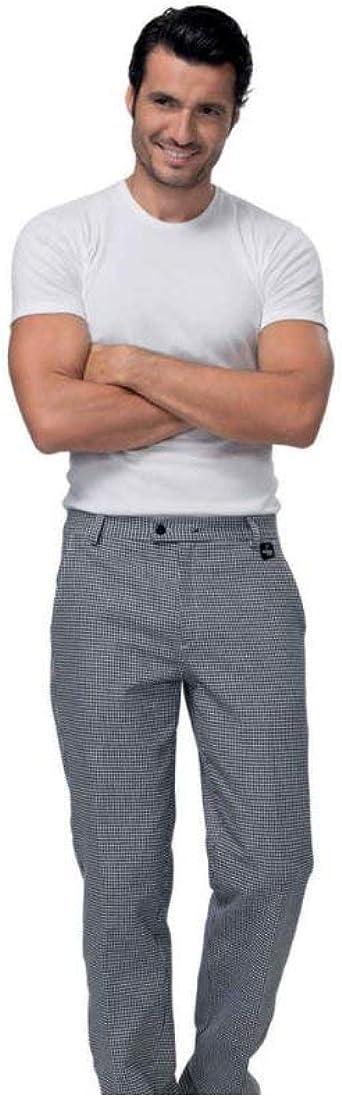 siggi Pantalone Cuoco Uomo Art Denzel QUADRETTO Bianco Nero