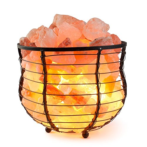 iLampens Himalayan Glow Natural Air Purifying Himalayan Tall Round Basket Salt Lamp with Salt Chunks, Bulb