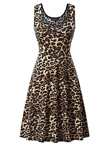 FENSACE Womens Floral Sleeveless Summer Beach Endless Tank Dress 1703012 Large (Skirt Stretch Leopard)