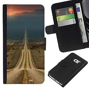 ZCell / Samsung Galaxy S6 EDGE / Road Freedom Sunset Open Drive / Caso Shell Armor Funda Case Cover Wallet / Camino Libertad Puesta de sol abiert