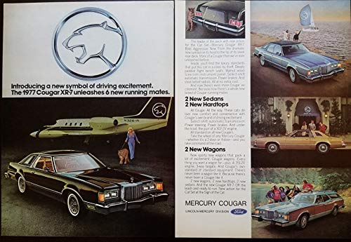 "Magazine Print Ad: 1977 Mercury Cougar XR-7, Private Jet Scene,""Introducing a new symbol of driving excitement.unleashes 6 new running mates: Sedans, Hardtops, Wagons"""